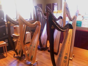 Lever Harps in the Lyon & Healy West Showroom