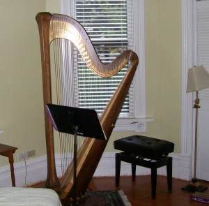 A harp, bench and stand in a home