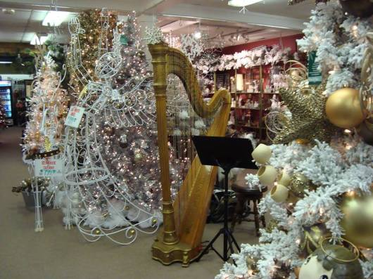 The Holiday season means lots of harp gigs. But what about all that cold and snow? (Photo by Meg Rodgers)