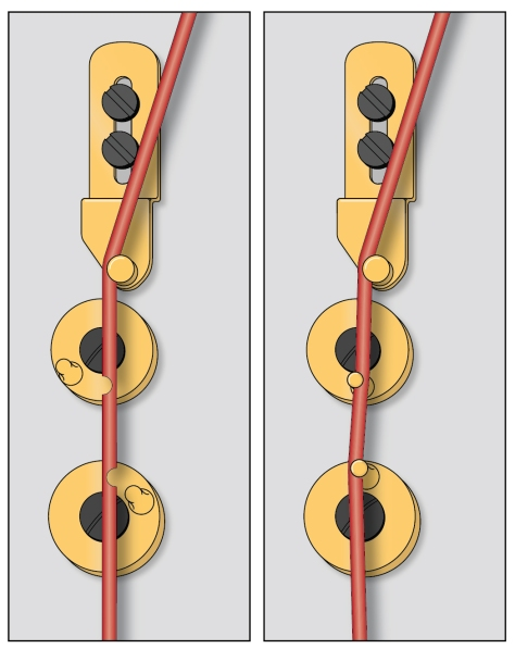 Worn away strings will not be gripped as well. They will be out of tune when you change pedal positions and will probably snap against the discs as well.